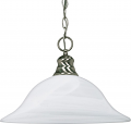 "Flared Bell Alabaster Glass Pendant Light 16""Wx11""H"