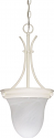 "Alabaster Glass Pendant Light White Cord 10""Wx20""H"
