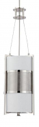 """Diesel Perforated Polished Nickel White Fabric Drum Pendant Light 9""""Wx31""""H"""