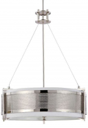 "Diesel Perforated Polished Nickel Drum Shade Pendant Light 21""Wx27""H"