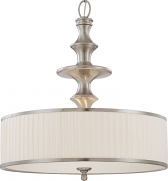 "Candice White Pleated Drum Pendant Brushed Nickel 24""Wx24""H"