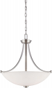 "Bentley Brushed Nickel Pendant Frosted Glass Shade 21""Wx23""H"