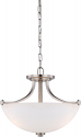 "Bentley Brushed Nickel Pendant Frosted Glass Shade 17""Wx13""H"