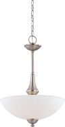 """Patton Brushed Nickel Pendant Glass Shade 16""""Wx21""""H"""