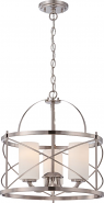"Ginger Brushed Nickel Pendant Glass Shade 16""Wx17""H"