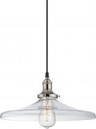 "Vintage Polished Nickel & Bell Glass Pendant Light 14""Wx7""H"