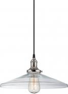 """Vintage Polished Nickel & Coolie Glass Pendant Light 14""""Wx6""""H"""