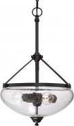 "Laurel Sudbury Bronze Pendant Light Clear Seeded Glass 15""Wx25""H"