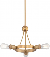 """Paxton Natural Brass Chandelier Edison Bulb 22""""Wx12""""H"""