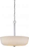 """Willow Polished Nickel Drum Pendant Glass Shade 18""""Wx18""""H"""