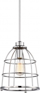 """Maxx Polished Nickel Metal Wire Cage Pendant Light 10""""Wx51""""H"""