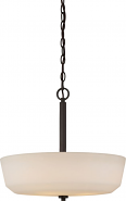 """Willow Aged Bronze White Glass Pendant Light 18""""Wx18""""H"""