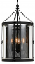 "Black Wire Mesh & Glass Cylinder Chandelier 16""Wx28""H"