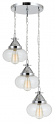 "Chrome & Bulbous Glass Shades Pendant Light 16""W"