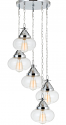 "Chrome & Bulbous Glass Shades Pendant Light 20""W"