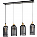 "Black Bronze Antique Brass Cage Pendant Light 38""W"