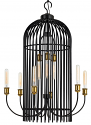 "Black Bronze Antique Brass Cage Pendant Light 26""Wx39""H"