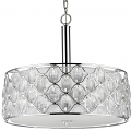 "Isabella Crystals & Polished Nickel Double Drum Pendant Light 22""Wx20""H - Sale !"