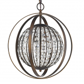 """Olivia Oil Rubbed Bronze Crystal Ball Chandelier 16""""Wx19""""H"""
