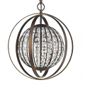 "Olivia Oil Rubbed Bronze Crystal Ball Chandelier 16""Wx19""H"