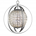 "Olivia Polished Nickel Crystal Ball Chandelier 16""Wx19""H"