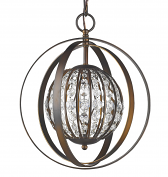 "Olivia Oil Rubbed Bronze Crystal Ball Chandelier 13""Wx16""H"