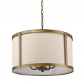 "Jessica Raw Brass & Beige Linen Drum Pendant Light 19""Wx13""H"