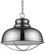 """Ansen Polished Nickel Industrial Pendant Light 16""""Wx15""""H"""