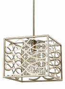 "Brax Washed Gold & Crystal Pendant Light 12""Wx10""H"