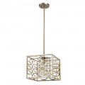 """Brax Washed Gold Crystal Pendant Light 12""""Wx10""""H"""