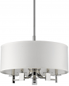 "Andrea Polished Nickel & White Drum Pendant Light 20""Wx13""H"