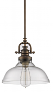 "Virginia Oil Rubbed Bronze Glass Pendant Light 10""Wx9""H"