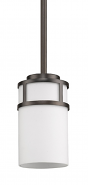 "Alexis Oil Rubbed Bronze White Drum Glass Mini Pendant Light 5""Wx6""H"