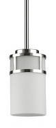 "Alexis Polished Nickel White Drum Glass Mini Pendant Light 5""Wx6""H"