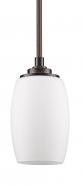 """Sophia Bronze & White Glass Mini Pendant Light 5""""Wx11""""H"""