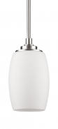 "Sophia Satin Nickel & White Glass Mini Pendant Light 5""Wx11""H"