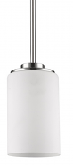 "Addison Satin Nickel White Drum Glass Mini Pendant Light 5""Wx6""H"