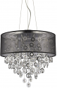 "Florence Crystals & Sheer Black Drum Chandelier 20""Wx20""H"