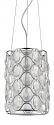 "Isabella Polished Nickel Crystal Drum Pendant Light 8""Wx13""H"