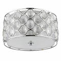 "Isabella Crystals & Polished Nickel Drum Flush Mount Ceiling Light 16""Wx9""H - Sale !"