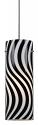 """Black & White Wavy Glass Mini Pendant Light 3.9""""Wx11""""H"""