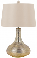 "Striated Silvery Gold Table Lamp Golden Beige Shade 27""H - Sale !"