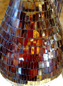 "Arts Crafts Russet Mosaic Glass Table Lamp Silk Pleated Shade 31""H - Sale !"