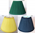 "Navy Blue, Green & Yellow Pleated Lamp Shades 12-18""W"