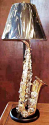 "Brass Alto Saxophone Lamp On Wood Base 30""H"