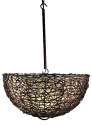 "Iron Nito Vine Cocoa Leaf Bowl Pendant Light 25""Wx14""H #665"