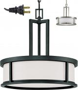 """Art Deco Drum Plug In Pendant Light 17""""W"""