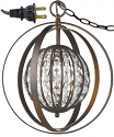 "Olivia Oil Rubbed Bronze Crystal Ball Plug In Pendant Light 13""Wx16""H"