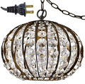 "Olivia Oil Rubbed Bronze Crystal Ball Plug In Pendant Light 10""Wx8""H"