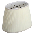 "Oval Side Pleated Chiffon Lamp Shade Cream or White 12-16""W"